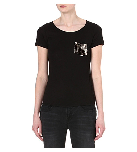 KAREN MILLEN Stud-pocket t-shirt (Black