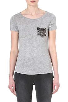 KAREN MILLEN Stud-pocket t-shirt
