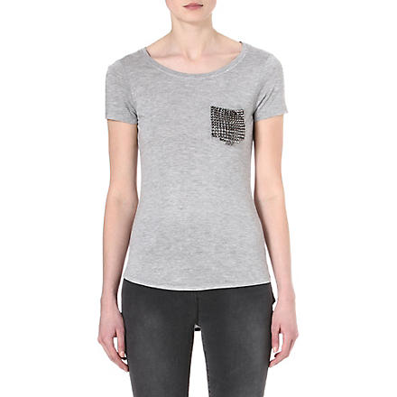 KAREN MILLEN Stud-pocket t-shirt (Grey