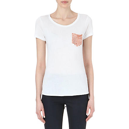 KAREN MILLEN Stud-pocket t-shirt (White