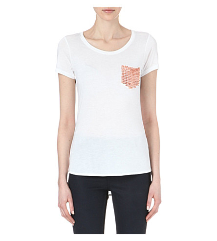 KAREN MILLEN Stud-pocket t-shirt (White