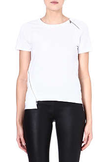 KAREN MILLEN Zip embellished cotton T-shirt