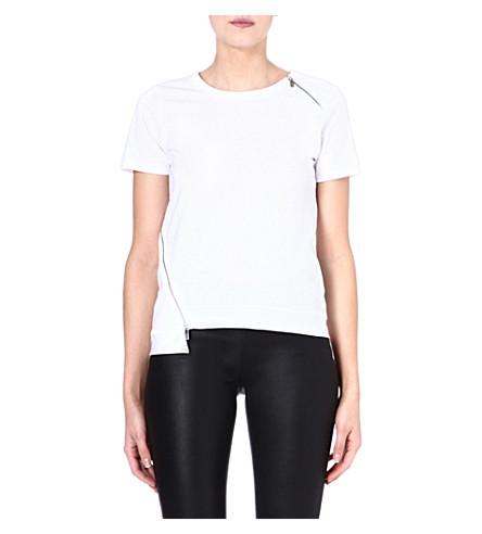 KAREN MILLEN Zip embellished cotton T-shirt (White