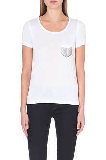 KAREN MILLEN Chain-link pocket t-shirt