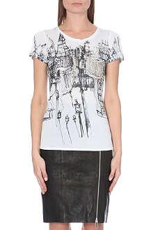 KAREN MILLEN London-print jersey t-shirt