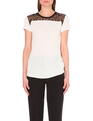 KAREN MILLEN Lace shoulder t-shirt