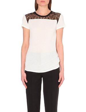 KAREN MILLEN Lace shoulder t-shirt