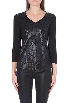 KAREN MILLEN Wet look checked top