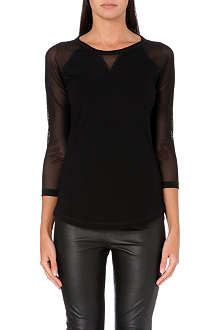 KAREN MILLEN Sheer-panel long-sleeved top