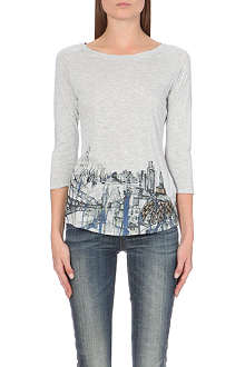 KAREN MILLEN London-print jersey and chiffon top