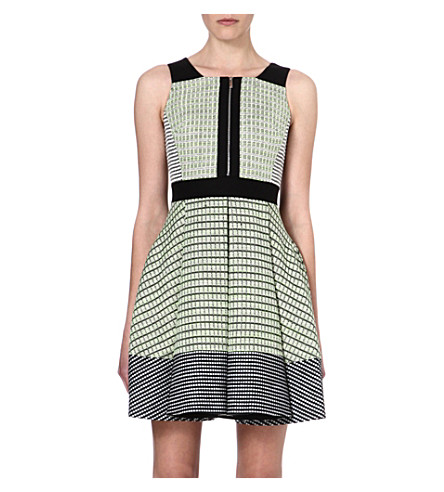 KAREN MILLEN Neon tweed dress (Lime