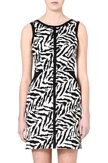 KAREN MILLEN Cotton zebra-print shift dress