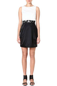 KAREN MILLEN Sateen cropped-overlay shift dress