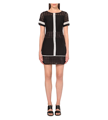 KAREN MILLEN Broderie-panelled t-shirt dress (Black