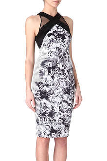 KAREN MILLEN Printed satin and lace dress