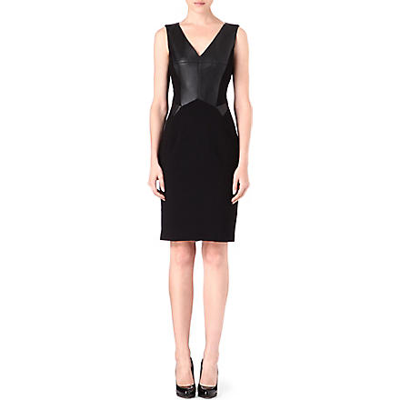 KAREN MILLEN Faux-leather panelled dress (Black