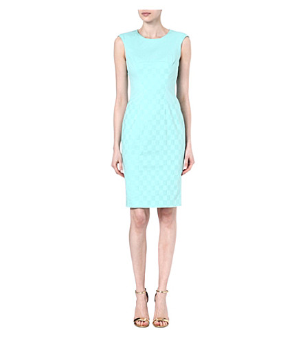 KAREN MILLEN Jacquard stretch-cotton shift dress (Aqua