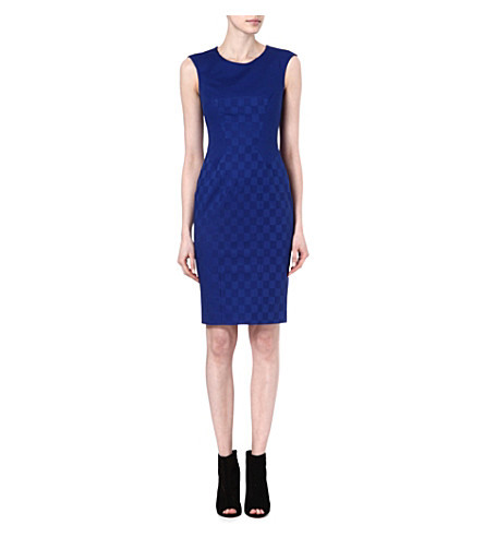 KAREN MILLEN Jacquard stretch-cotton shift dress (Blue