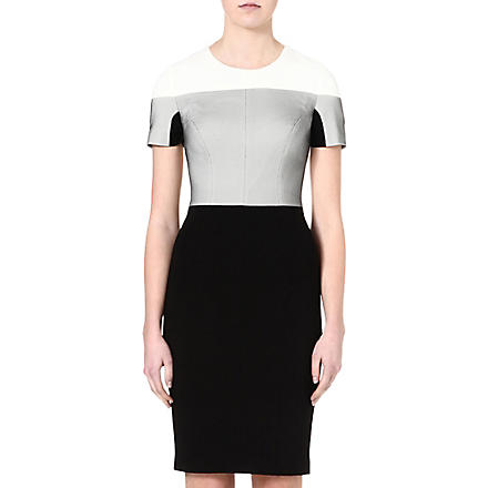 KAREN MILLEN Jersey and mesh shift dress (Black/multi