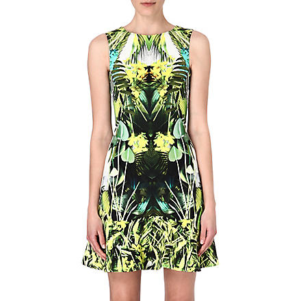 KAREN MILLEN Jungle-print flared-hem dress (Green/multi