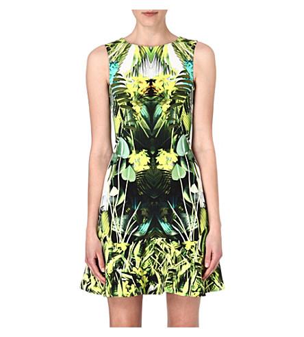 KAREN MILLEN Jungle-print flared-hem dress (Green/multi
