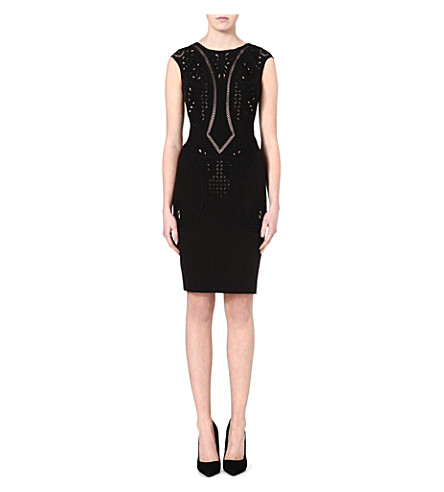 KAREN MILLEN Embroidered cutwork dress (Black/multi
