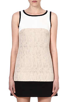 KAREN MILLEN Colour-block tweed-panel dress