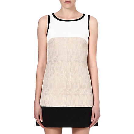 KAREN MILLEN Colour-block tweed-panel dress (Neutral