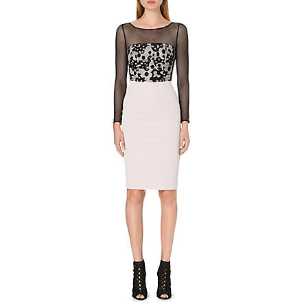 KAREN MILLEN Long sleeve camouflage lace dress (Neutral