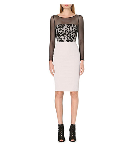 KAREN MILLEN Sheer-panel camouflage-lace dress (Neutral