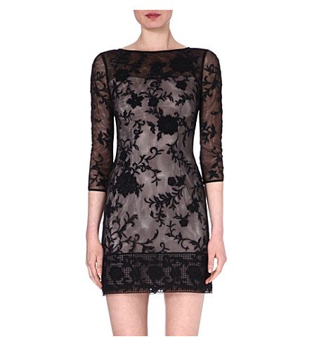KAREN MILLEN Floral embroidered dress (Black