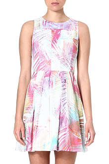 KAREN MILLEN Palm tree printed skater dress