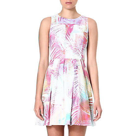 KAREN MILLEN Palm tree printed skater dress (Multicolour