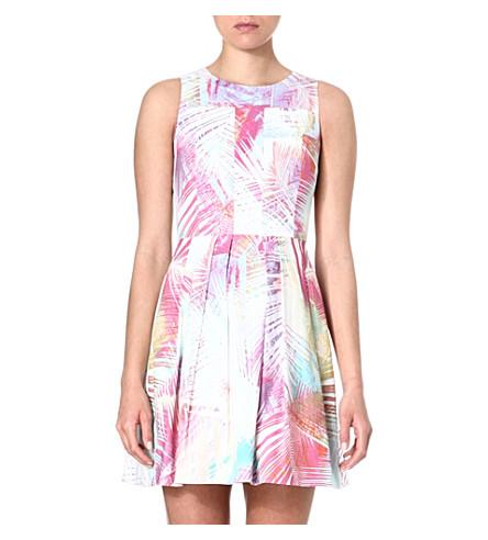 KAREN MILLEN Palm tree printed skater dress (Multicolour