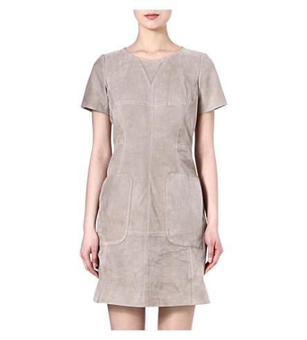 KAREN MILLEN Suede perforated dress (Neutral