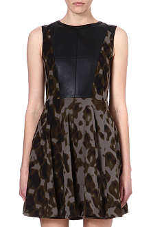 KAREN MILLEN Camouflage and leather dress