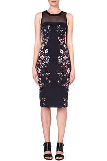 KAREN MILLEN Neon floral print shift dress