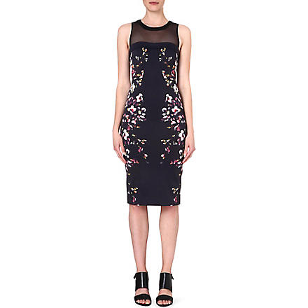 KAREN MILLEN Neon floral print shift dress (Black/multi