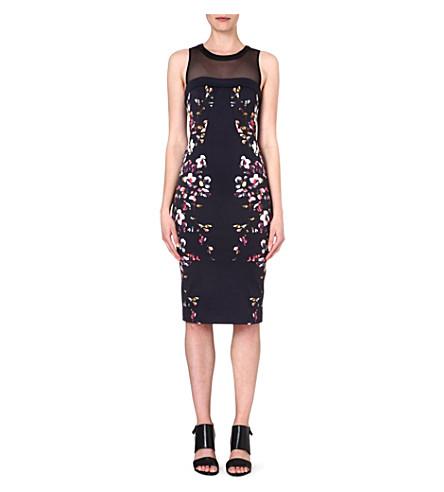 KAREN MILLEN Neon floral print shift dress (Black/multi
