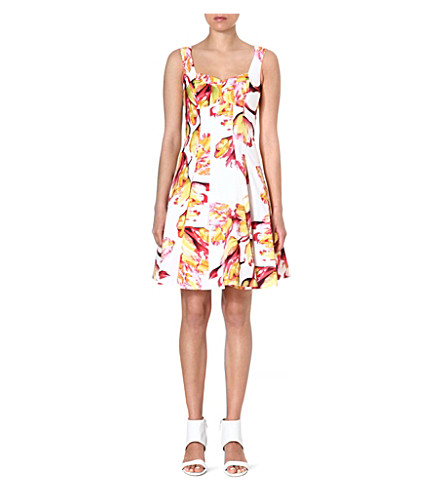 KAREN MILLEN Tulip-print A-line dress (White/multi