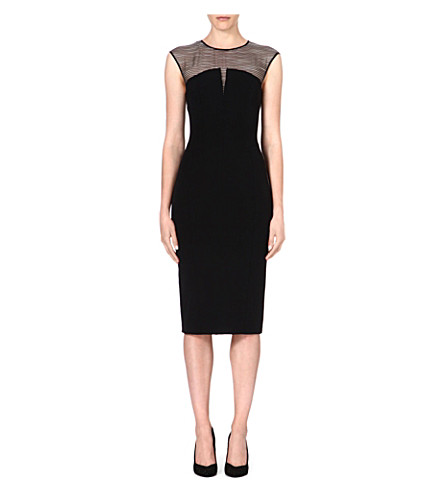 KAREN MILLEN Silk panelled shift dress (Black
