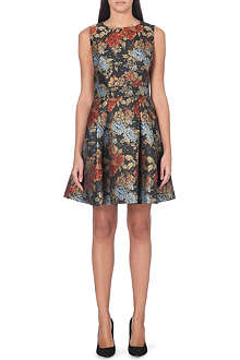 KAREN MILLEN Fitted floral brocade dress