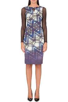 KAREN MILLEN Geometric print sheer sleeve dress