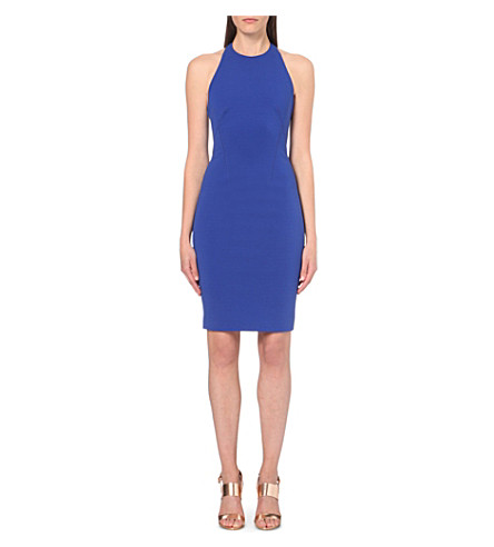 KAREN MILLEN Cut-out stretch-crepe dress (Blue