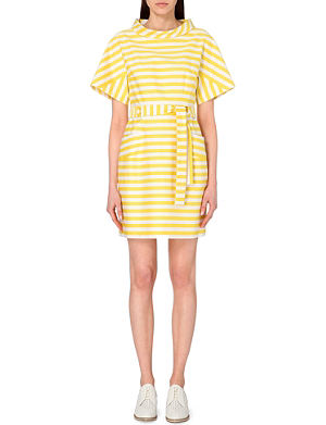 KAREN MILLEN Belted striped cotton-stretch dress