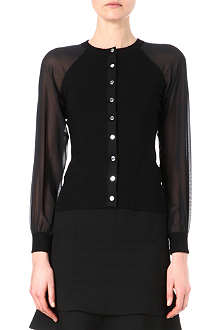 KAREN MILLEN Sheer sleeves knitted cardigan