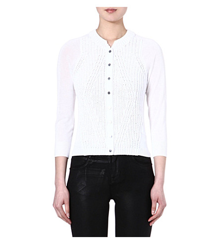 KAREN MILLEN Mixed gauge knit cardigan (White