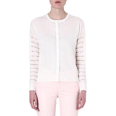 KAREN MILLEN Fine gauge knit cardigan (White