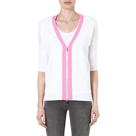 KAREN MILLEN Cardigan with neon trim (White/multi