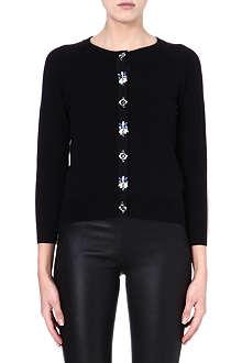 KAREN MILLEN Embellished cotton-blend cardigan